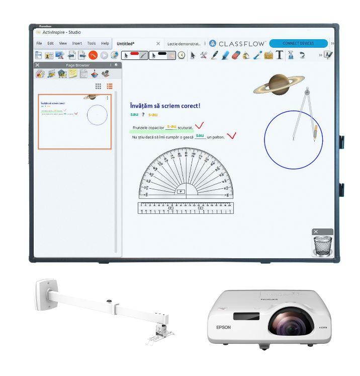 Pachet tabla interactiva Promethean ActivBoard 10 Touch, 78 inch + videoproiector Epson EB-530