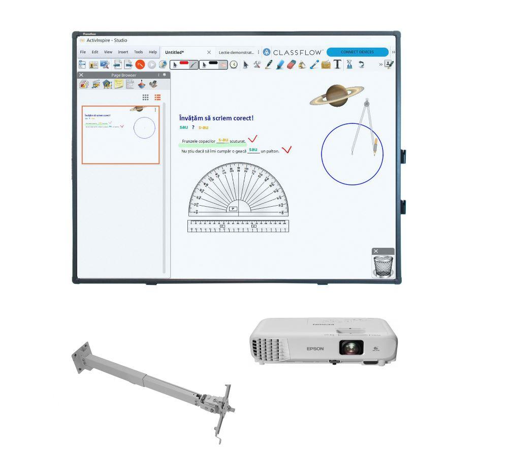 Pachet tabla interactiva Promethean ActivBoard 10 Touch, 78 inch + videoproiector Epson EB-W06